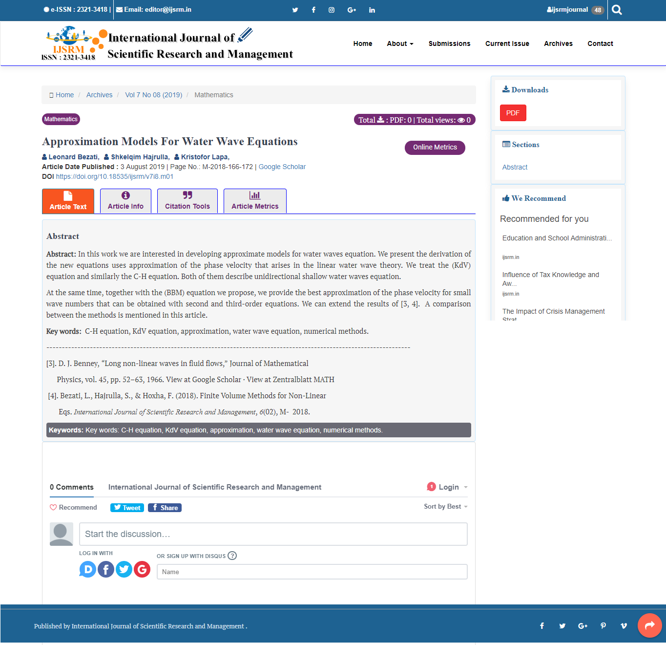 International Journal of Scientific Research and Management